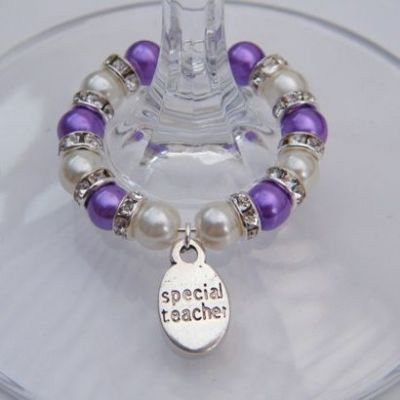Special Teacher Wine Glass Charm - Full Sparkle Style